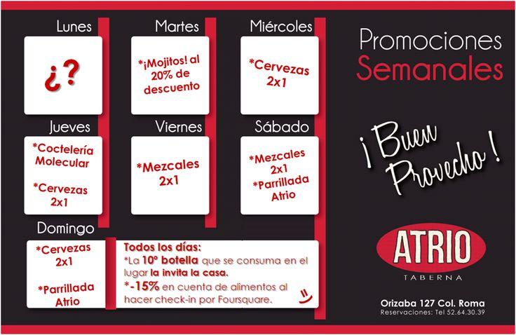 Promociones para el mes de Marzo.    ¡Los lunes son sorpresa! entérate en:  https://www.facebook.com/AtrioTaberna