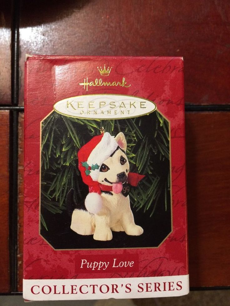 1999 PUPPY LOVE NEW Hallmark German Shepherd Dog Christmas Ornament SANTA HAT  | eBay