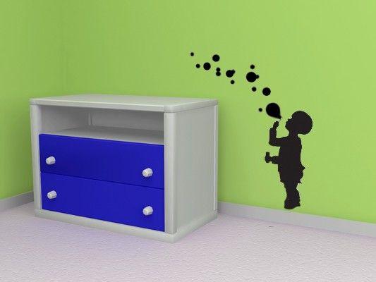Blowing Bubbles, peuter Decor, zomer Decals, kinderen kinderkamer kunst aan de muur, kamer Decor, Decor van het huis, kinderdagverblijf Decal, Boy Decal, speelkamer Decor