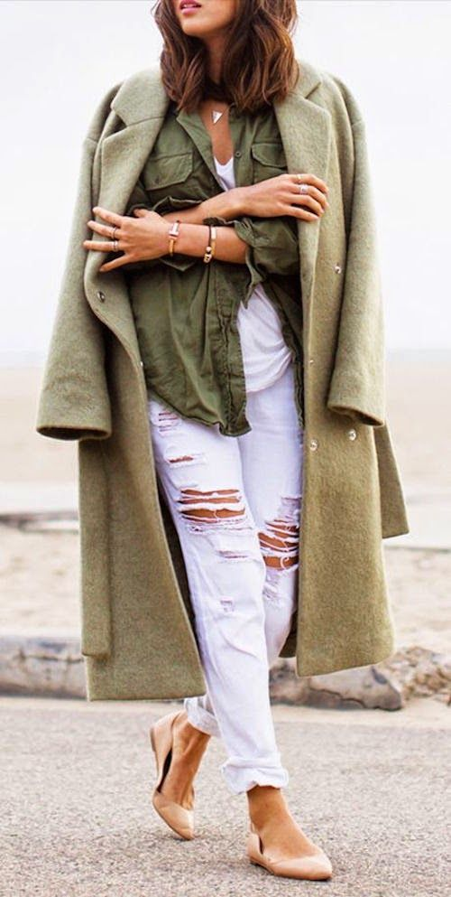 Khaki Wool Coat. Army Green Shirt. Ripped White Jeans. Nude Shoes. Denim. Style. Fashion. Order ...