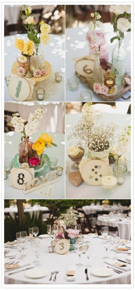 25 DIY Projects using Embroidery Hoops - I officially want to do this for my wedding reception! Perfect for the sewer/arty crafty person.