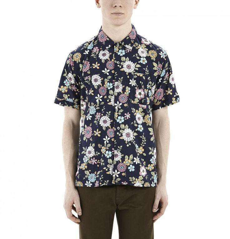 Navy Floral Lawn Camp Shirt
