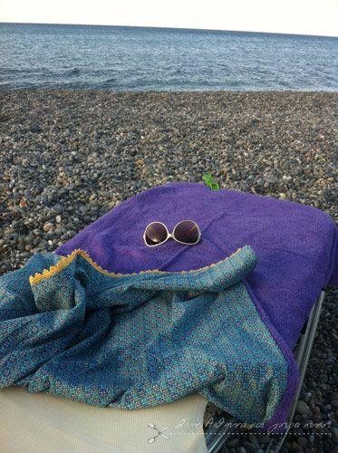 Handmade Sea Towel ... Purple Sun