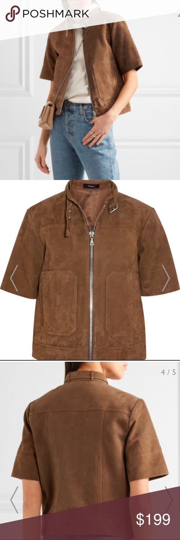 """NWT Theory Lavzinie 💯% Suede Short Sleeve Jacket NWT. Zippers still covered in tissue. Sold out at Bloomingdales and Net-a-Porter and currently $499 at Nordstrom Rack! Online description: """"Theory's 'Lavzinie' jacket is made from butter-soft suede. This moto-inspired design is detailed with a buckled collar, oversized pockets and wide sleeves. Wear yours with slim-fit denim. - Tan suede (Lamb) - Two-way zip fastening through front - 100% suede; lining: 100% rayon - Specialist clean - Made in…"""