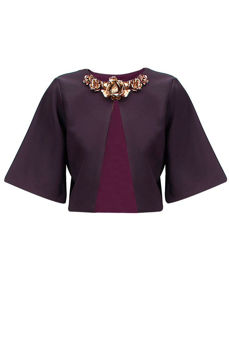Purple metal flowers embellished bolero jacket by Nikhil Thampi. Shop now at www.perniaspopups... #fashion #designer #shopping #perniaspopupshop #happyshopping