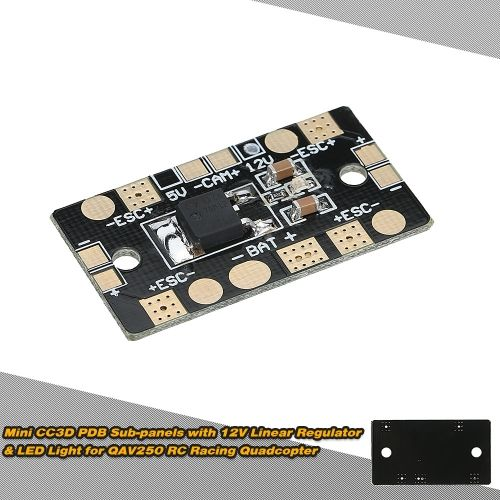 Mini CC3D PDB Power Distribution Board Sub-panels 12V Linear Regulator with LED Light for QAV250 RC Quadcopter