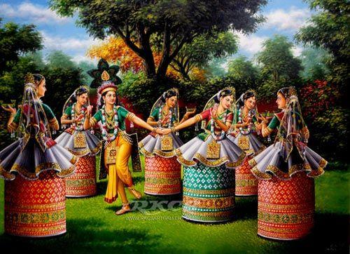 Krishna Radha dancing the Manipuri dance