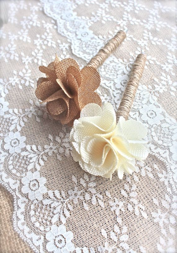 Guest Book Pen with Ruffled Burlap Flower Top - Rustic Chic Vintage Wedding - (GP-4)
