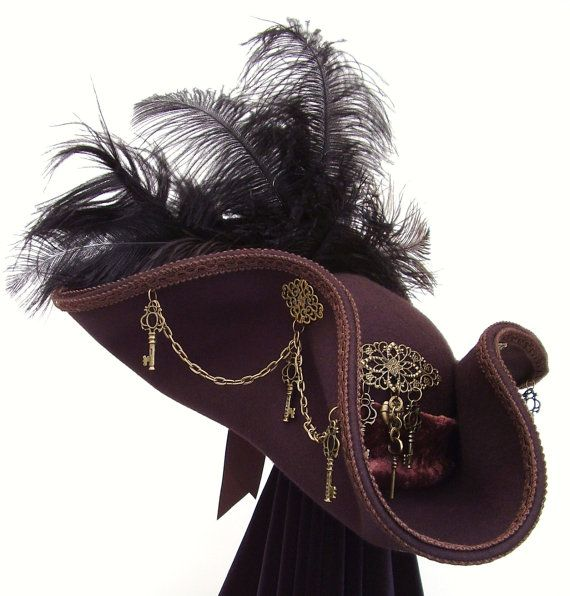 Key Keeper brown & brass steampunk tricorn hat