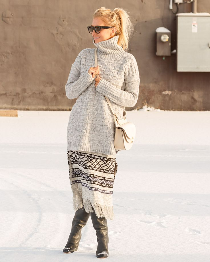 Winter sweater and boots on The Boyish Girl
