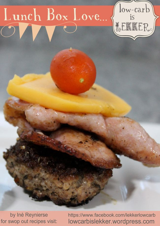 Is it a low-carb burger on a stick? Is it a tower of fatty awesomeness on a stick? We don't know, what we do know is that it is a delicious LCHF snack, (and well, that it's on a stick...).
