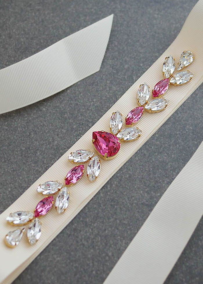 Fuchsia Rose and Clear Swarovski Crystals Hand beaded Bridal Sash from EarringsNation Fuchsia Weddings Hot Pink Weddings
