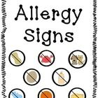 FREE Allergy signs with pictures featuring the most common allergies. Great for hanging outside classroom doors. A must if you have a little one with an...