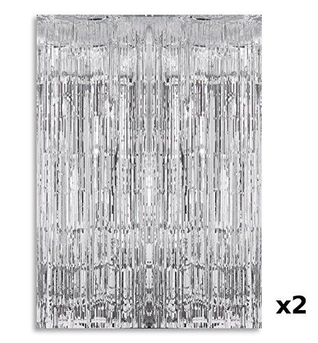 2 x SILVER Metalic Shimmer foil party tassel curtain 3FT X 8FT -