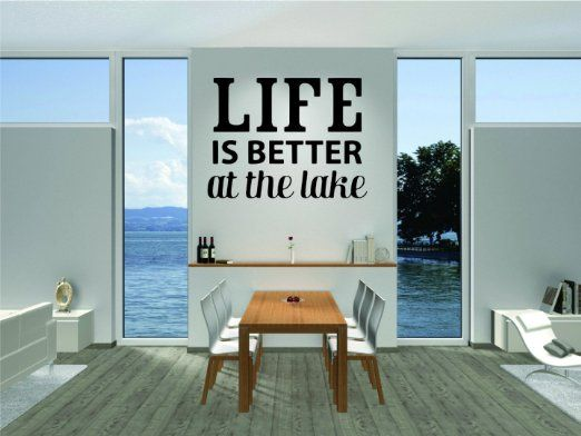 Wall Decal Sale : Life Is Better At The Lake Vacation Fun Quote Relax Size: 20 Inches X 30 Inches - 22 Colors Available
