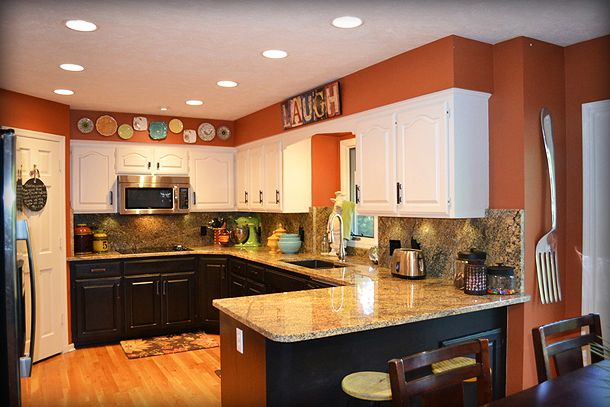 Best 25 orange kitchen walls ideas that you will like on for Burnt orange kitchen cabinets