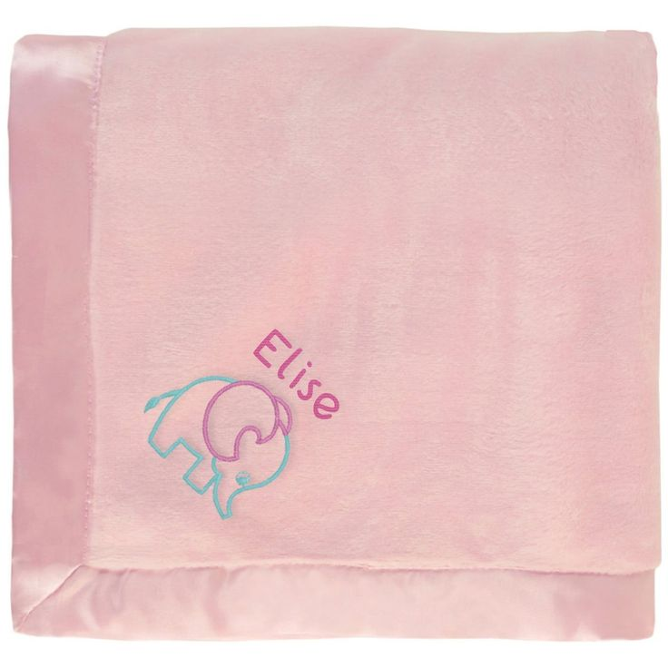 #Elise baby girl blanket in pink with a cute embroidered Elephant. The name Elise is personalized with unique embroidery in a custom design, perfect as a newborn #baby shower gift. https://www.babyblankets.com/pink-baby-blanket?utm_source=pinterest&utm_medium=pin&utm_campaign=girl_name