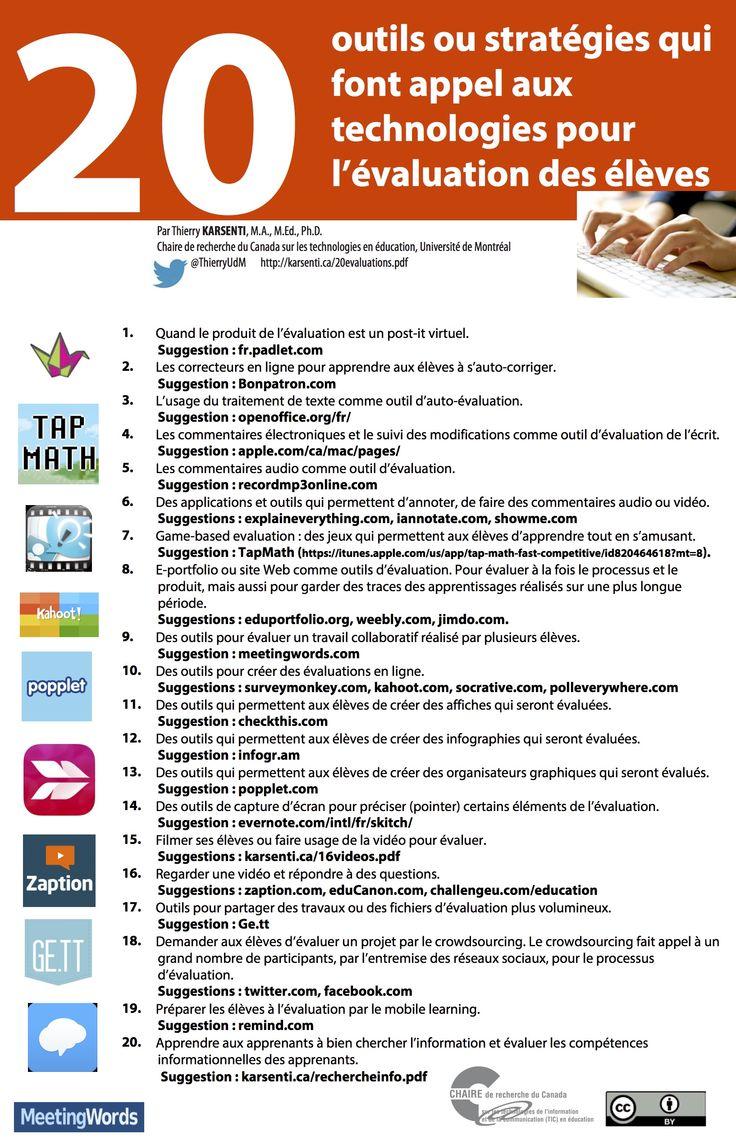 20 outils ou stratégies qui font appel aux technologies pour l'évaluation des élèves