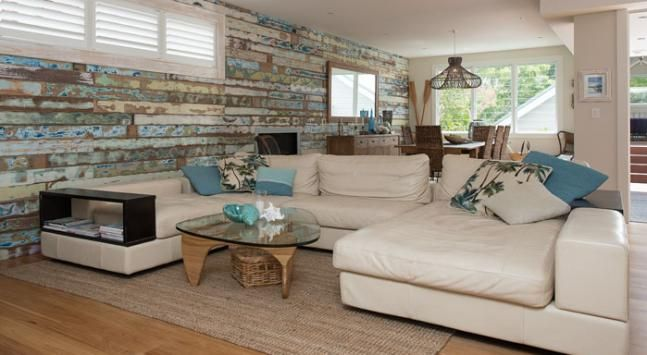 Feature Wall made of Recycled Timber | Yep I would be quite content in this lounge room looking at this wall.