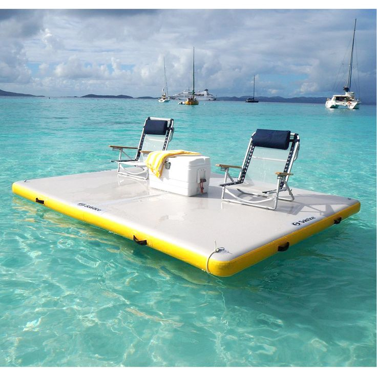 The Solstice 6-foot Inflatable Floating Dock is a durable activity platform to use at the lake or in your pool. Made from durable 1000 Denier 3 ply PVC reinforced fabric material, it is durable for most water activities.