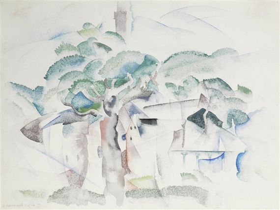 Artwork by Charles Demuth, Trees and Houses (Provincetown), Made of Watercolor and pencil on paper