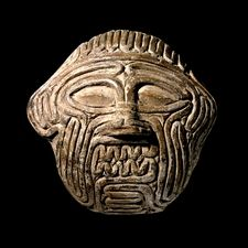 Clay mask of Humbaba, legendary monster guardian of the sacred cedar forests of Lebanon that were plundered by King Gilgamesh of Uruk (Sumer), and his sidekick Enkidu. Sippar, southern Iraq, ca 1800 - 1600 BCE.