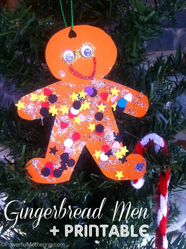 Have fun with some glitter glue and paper! - http://www.powerfulmothering.com/gingerbread-men-christmas-tree-and-star-printables/