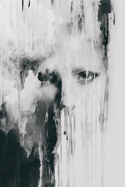 .. by ~Blekotakra on deviantART black and white acrylic on paper + digital photo