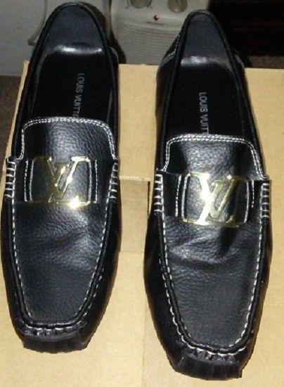 46cb0d52f636 Louis Vuitton 5231 Men Black Size 45 (10.5 US) Leather Flat Shoes   LouisVuitton  LoafersSlipOns