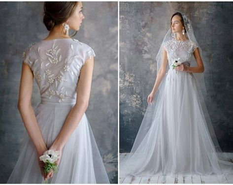 Lace wedding dress, embroidered boho, low sexy back, tulle bridal gown, short sleeve, comfortable corset brautkleid / ANISIA