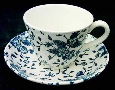 Grindley Bouquet Blue Flat Cup & Saucer Set