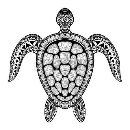 Zentangle kabile stilize kaplumbağa. El sucul doodle vektör illüstrasyon Çizilmiş. Dövme veya makhenda için çizin. Hayvan deniz koleksiyonu. Okyanus yaşamı. Çizim