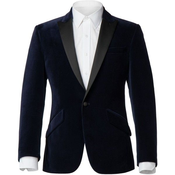 Alexandre of England Emery Navy Velvet Jacket ($165) ❤ liked on Polyvore featuring men's fashion, men's clothing, men's outerwear, men's jackets, sale men coats and jackets, mens navy blue blazer jacket, mens navy blazer, mens navy jacket, mens purple velvet blazer jacket and mens navy blue blazer