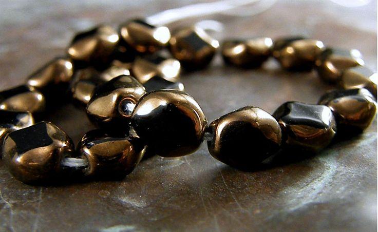(12) Opaque Jet Bronze-Czech Polished Ovals Triangle Table Cut Beads-9mm #Unbranded #Czech