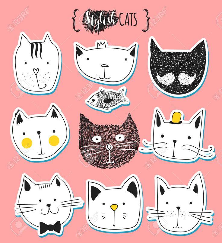 Набор милые каракули кошек. Эскиз кошки. Эскиз Cat. Cat ручной работы. Версия для печати футболки для кошки. Печать для одежды. Doodle Дети животных. Стильные морда кошки. Изолированные кошка. Pet Клипарты, векторы, и Набор Иллюстраций Без Оплаты Отчислений. Image 52987555.