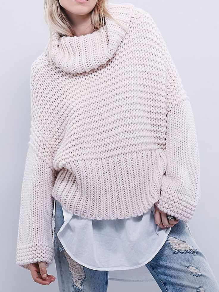 . . Light Pink Roll Neck Cable Knit Loose Sweater . .