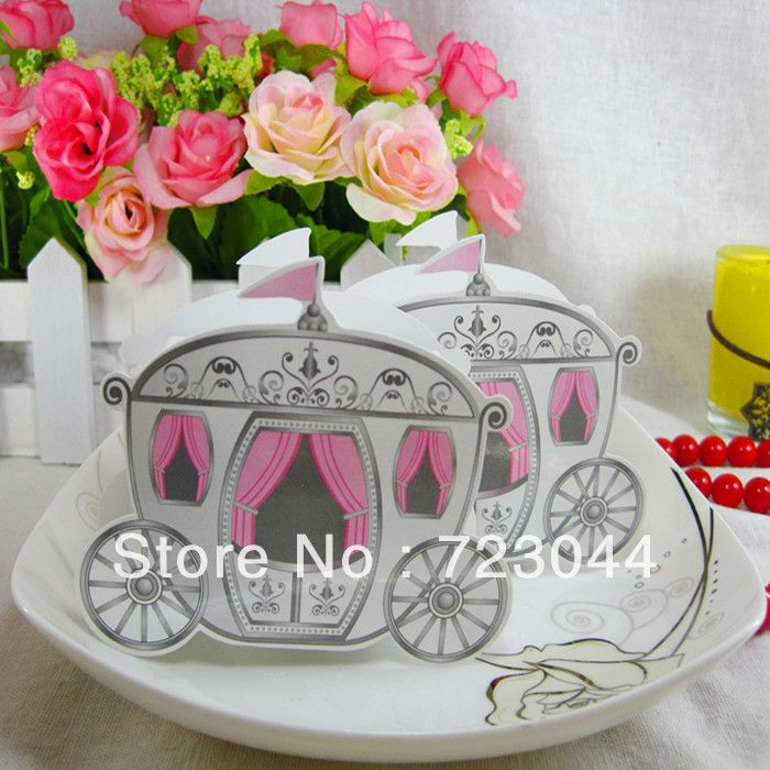 Wholesale!50PCS Creative Pumpkin Carriage Wedding Favor Boxes Gift Box Candy Box  Free Shipping