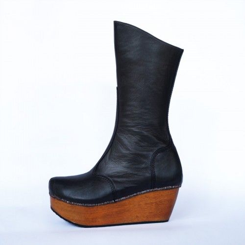 Preston Zly Patten Boot The clog or patten is sleek, polished and curvaceous; the upper is strong and simple with its heavy decorative stitching -  our signature tac detail brings the make to the outside in a deconstructive manner. http://prestonzly.com/Collections/Axis/Pattern-Boot
