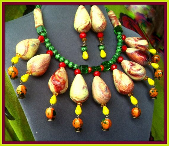 Yellow Necklace & Earrings, Big Chunky Jewelry Beads Red Crystal Italian Drops Ethnic Collar Statement Choker Green Handpainted Boho Beads
