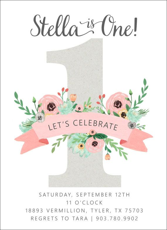 Pink & Mint Floral Birthday Invitation One First by papernpeonies
