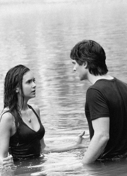 Elena and Damon fighting it out in the lake