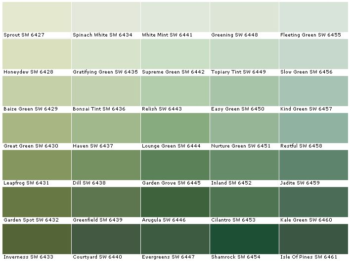 Sherwin Williams SW6427 Sprout SW6428 Honeydew  SW6429 Baize Green SW6430 Great Green SW6431 Leapfrog SW6432 Garden Spot SW6433 Inverness SW6434 Spinach White  SW6435 Gratifying Green SW6436 Bonsai Tint SW6437 Haven SW6438 Dill SW6439 Greenfield SW6440 Courtyard SW6441 White Mint SW6442 Supreme Green SW6443 Relish SW6444 Lounge Green