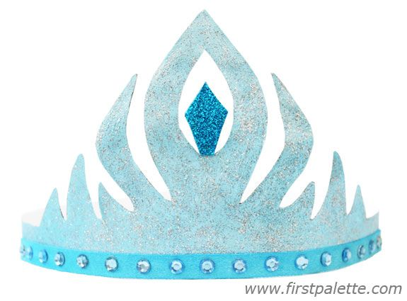 Blue princess elsa paper crown craft for the kids for Art and craft crown
