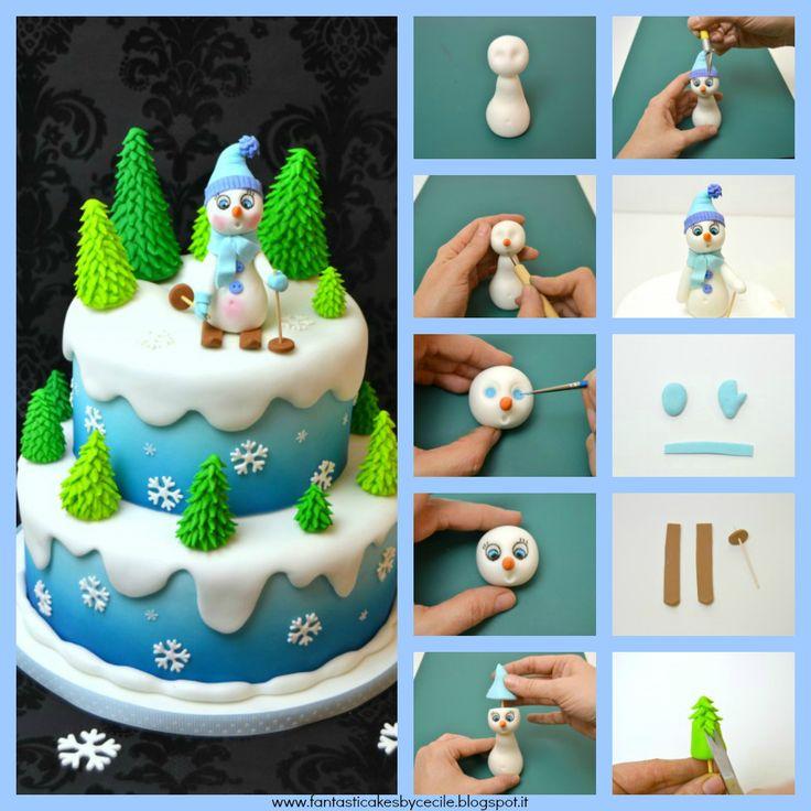 SNOWMAN SKIER CHRISTMAS CAKE TUTORIAL