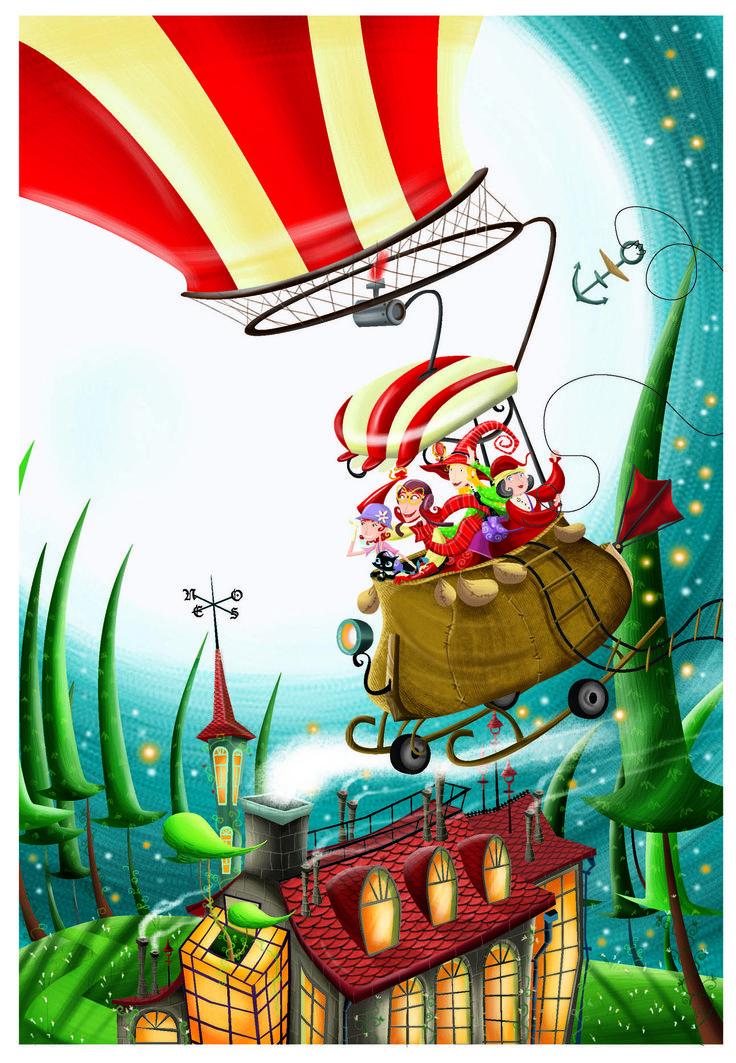 Boceto de las tias brujas volando en globo.