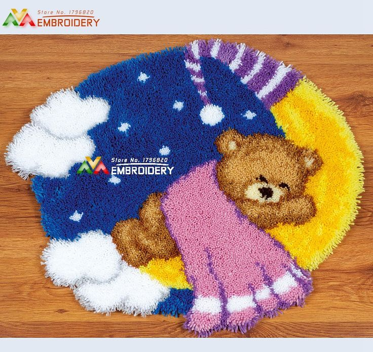 Latch Hook Rug Kits DIY Needlework Unfinished Crocheting Rug Yarn Cushion  Mat Embroidery Carpet Rug Ted