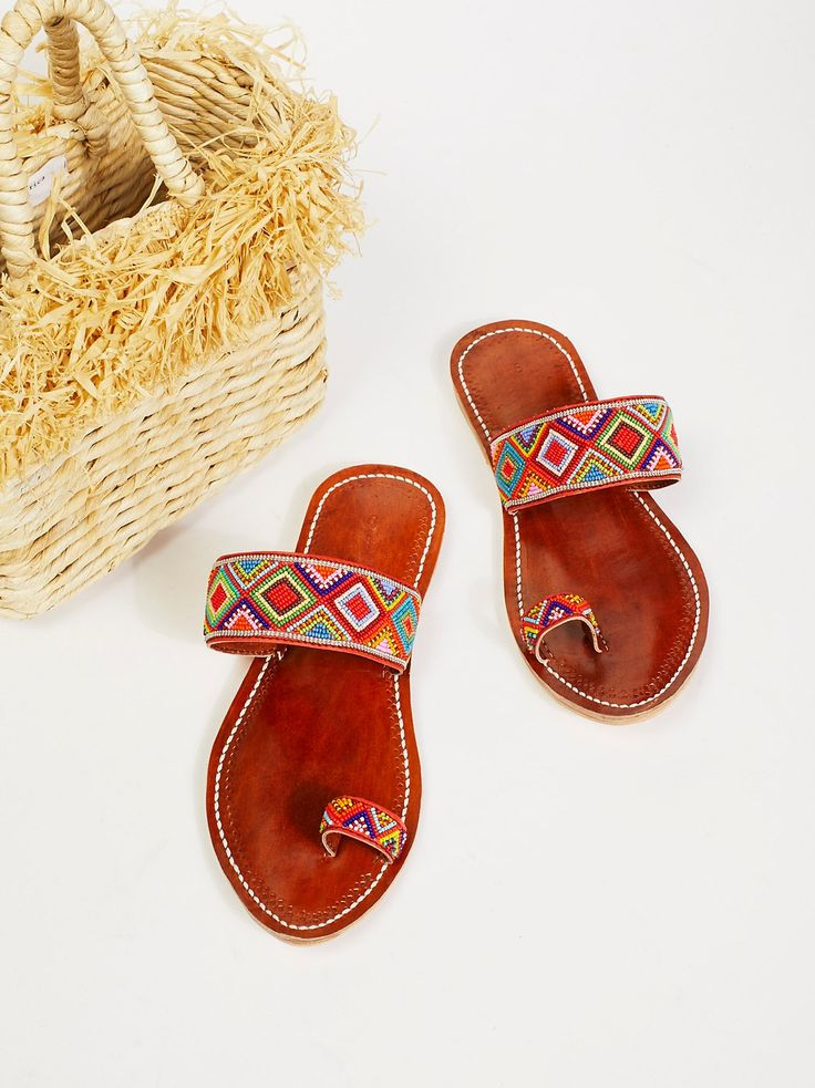 Santorini Beaded Sandal | Bright and colorful beaded sandal featuring a simple toe loop. **PLEASE NOTE: These one-of-a-kind sandals are completely handmade, slight variation in fit may occur.**