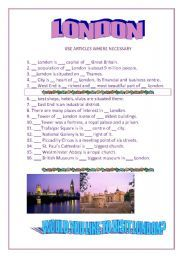 English worksheet: London. Articles with geographical names