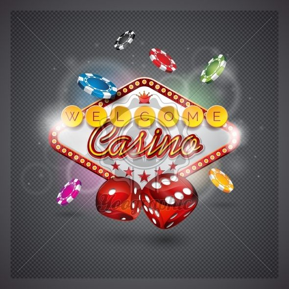 Vector illustration on a casino theme with lighting display and dices on dark backgroun. - Royalty Free Vector Illustration
