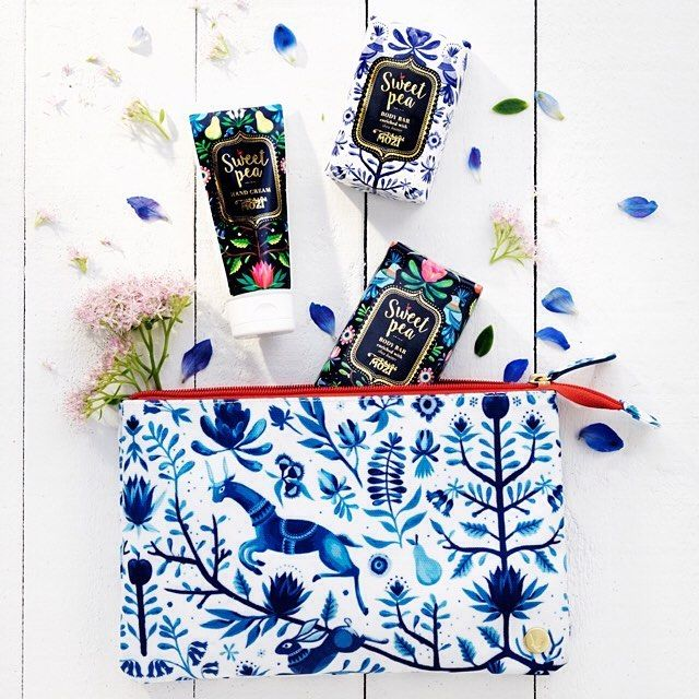 A bath bag full of sweet pea goodies will earn you golden child status on Mother's Day!